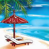 Empty sun loungers on deserted beach, illustration