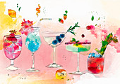 Tropical alcoholic cocktails, illustration