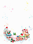 Blank invitation with Christmas cookies, illustration