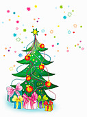Christmas tree and gifts, illustration