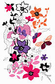Flowers and butterflies, illustration