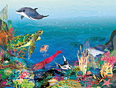 Marine scene, illustration