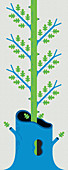 Sapling growing inside dead tree, illustration