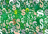 Abstract pattern of lots of dollar signs, illustration