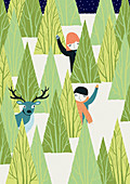 Boy, girl and deer behind trees in snowy woods, illustration