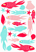 Fish and seashells, illustration