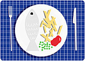 Place setting with fish and chips dinner, illustration