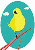 Yellow bird perching on twig, illustration