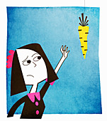 Woman reaching for dangling carrot, illustration