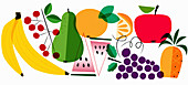 Variety of fruits, illustration
