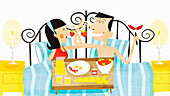 Happy couple eating breakfast in bed, illustration