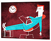 Tired businessman with feet up using laptop, illustration