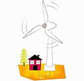 Large wind turbine spinning above house, illustration