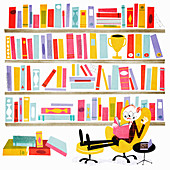 Happy man in library reading book, illustration