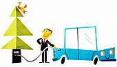 Happy businessman filling car with biofuel, illustration