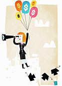 Graduate student rising in mid-air, illustration