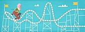 Nervous man on rollercoaster, illustration