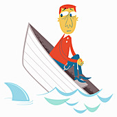 Anxious man in sinking boat, illustration
