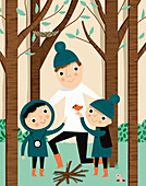 Father and children enjoying nature in woods, illustration