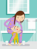 Mother helping baby brush teeth in bathroom, illustration