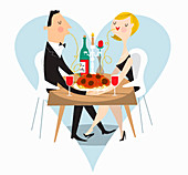 Couple sharing spaghetti at romantic meal, illustration