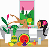 Happy woman in bathtub surrounded by fruit, illustration