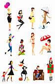 Twelve poses of woman, illustration