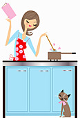 Happy woman cooking with love, illustration