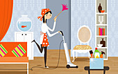 Happy woman doing housework, illustration