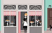 Waitress in uniform taking a break, illustration