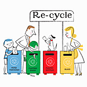 Family using recycling bins, illustration
