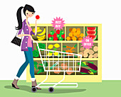 Young woman shopping for fruit and vegetables, illustration
