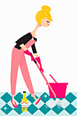 Woman mopping floor with vinegar, illustration