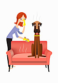 Woman approaching smelly dog, illustration