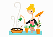 Woman adding fresh herbs to pan, illustration
