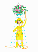 Woman wearing rain hat and wellingtons, illustration