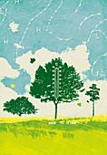 Meteorology symbols around tree, illustration