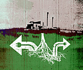 Arrows and electric plugs below factory, illustration