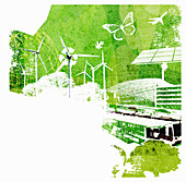 Collage of environmental conservation issues, illustration