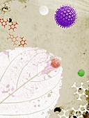 Allergens, molecules and leaf, illustration