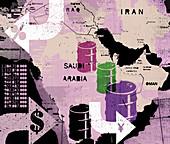Oil barrels on map of Middle East, illustration