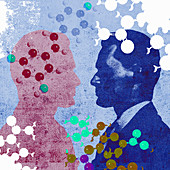 Businessmen face to face with molecules, illustration