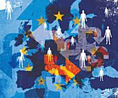 European Union citizen with confusing arrows, illustration