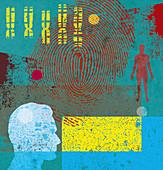 Man, chromosomes and fingerprint, illustration