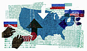 Russian cyber attack on the United States, illustration