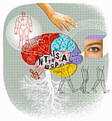 Brain activity and creativity, illustration