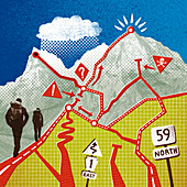 Hikers ascending mountain, illustration