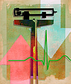 Weight scale, pulse trace and arrows, illustration