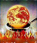 Globe burning in pan over flames, illustration