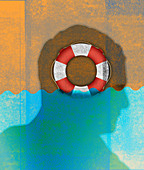 Life ring inside of man's head sinking, illustration